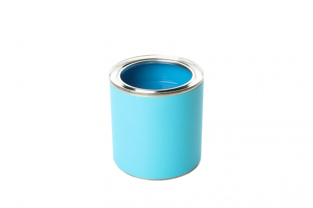 Can of blue paint isolated on white surface