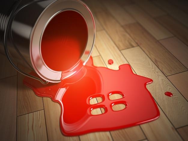 엎질러진 빨간 페인트와 집 기호가 있는 캔