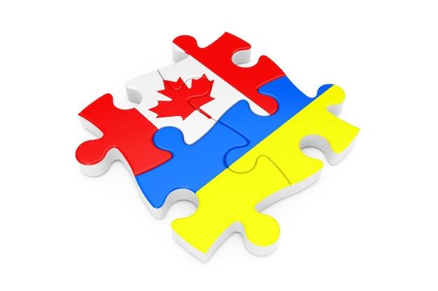 흰색 배경에 플래그로 캐나다와 우크라이나 협력 퍼즐. 3d 렌더링