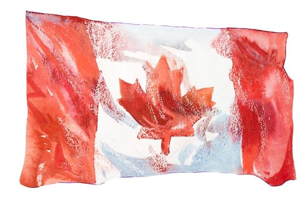 カナダ、カナダの旗。手描き水彩イラスト。