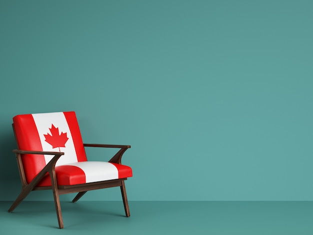 Canada flag chair with copy space. 3d rendering