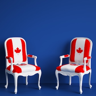 Canada flag chairs with copy space. 3d rendering