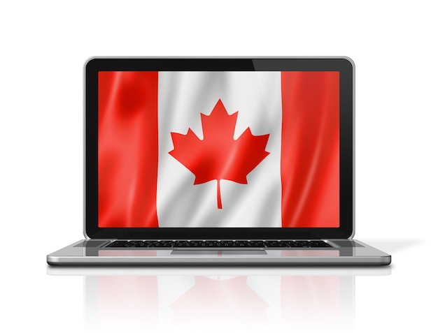 Canada flag on laptop screen isolated on white. 3d illustration render.