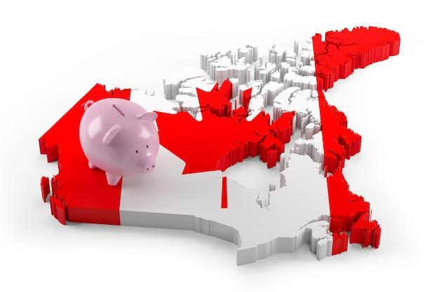돼지 저금통에 캐나다 국기 지도입니다. 3d 그림