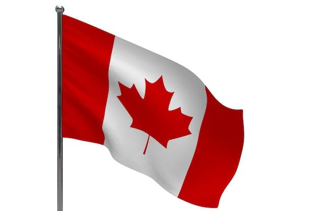 Флаг канады на шесте. металлический флагшток. национальный флаг канады 3d иллюстрации на белом