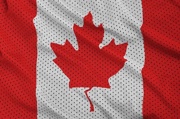 Canada flag printed on a polyester nylon sportswear mesh fabric