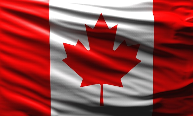 Canada flag waving in the wind national symbol of canadian country background