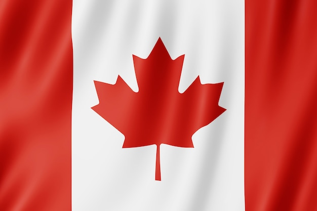 Canada flag waving in the wind.
