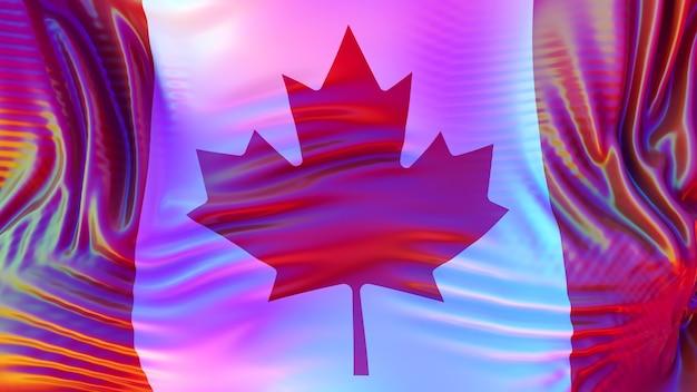 Lgbtの虹色の反射でカナダの旗。