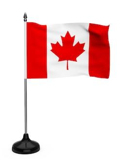白い背景の上のスタンドとカナダの旗