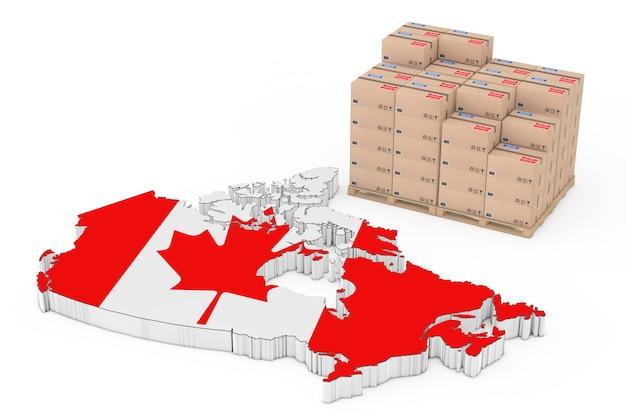 カナダロジスティクスコンセプト。白い背景の上の旗とカナダの地図の近くの木製パレットの段ボール箱。 3dレンダリング