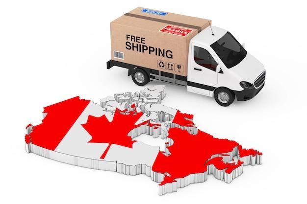 カナダロジスティクスコンセプト。白い背景に旗が付いているカナダの地図の近くの送料無料のサインが付いている段ボール箱を積んだ白い商業産業貨物配達バントラック。 3dレンダリング