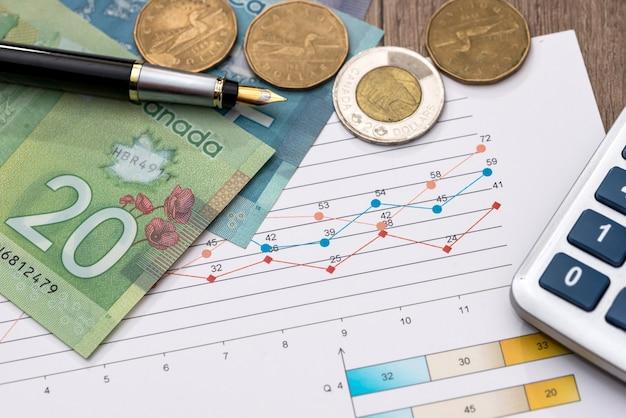 Канадский доллар с ручкой для бизнес-диаграмм и калькулятором