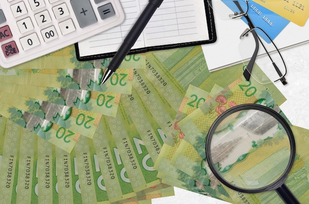 Canadian dollars bills and calculator with glasses and pen