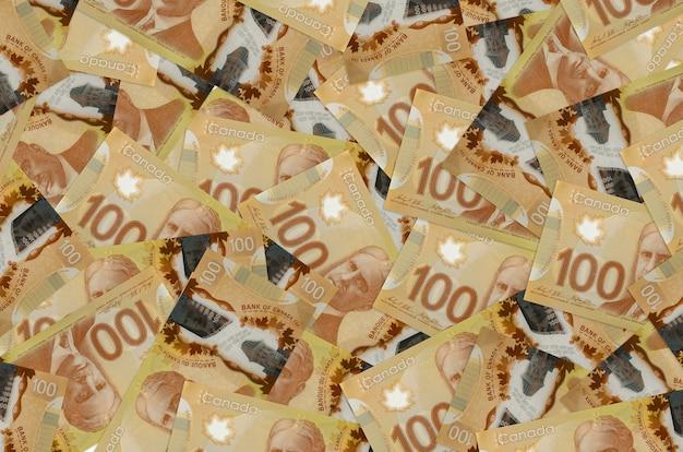Canadian dollars bills laying in big pile