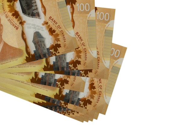 Canadian dollars bills lies in small bunch or pack isolated