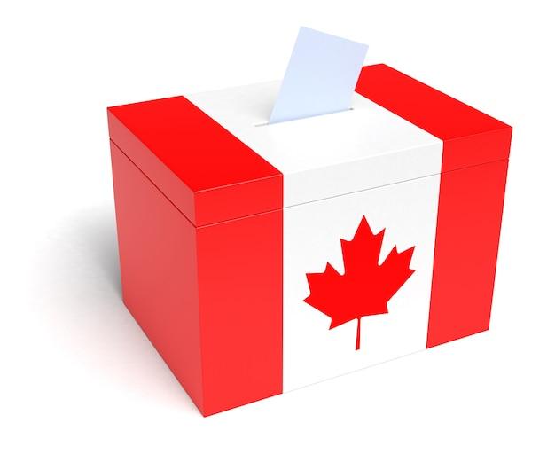Canadian flag ballot box, 3d rendering