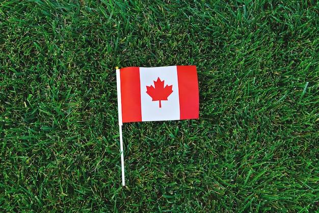 緑の芝生の上のカナダの旗