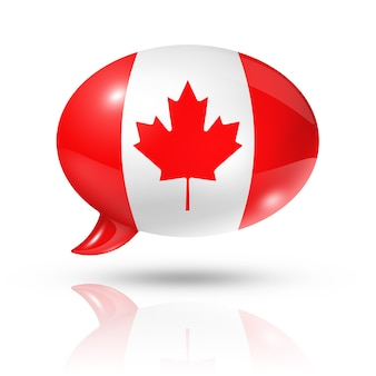 Canadian flag speech bubble