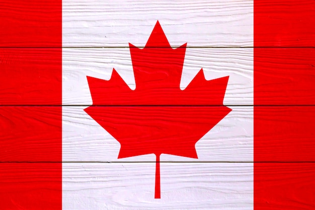 Canadian flag on a wooden background