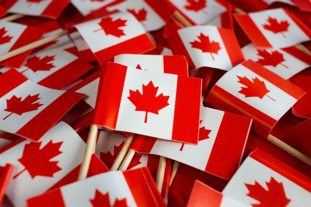 Canadian flags flat lay national day celebration high quality photo