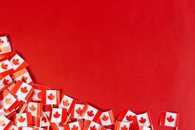 Canadian flags flat lay with copy space national day celebration