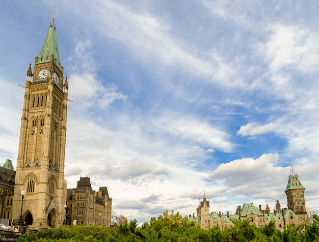 Canadian parliament with peace tower and east block in ottawa, canada