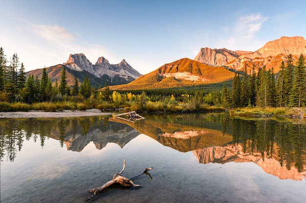 Canadian rockies reflection on wedge pond in the morning