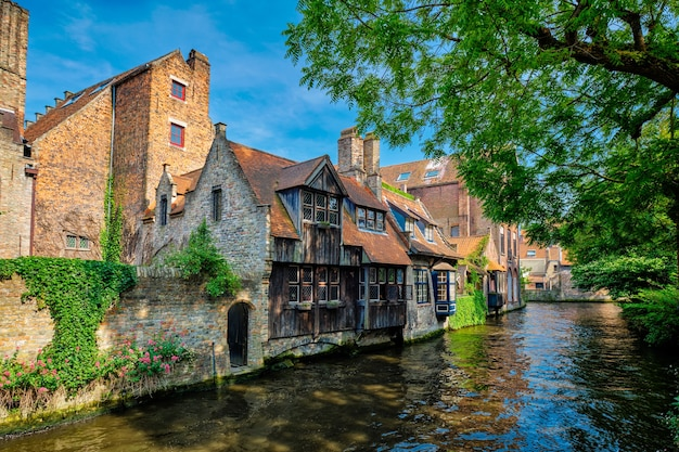 Canal with old houses in bruge beligum