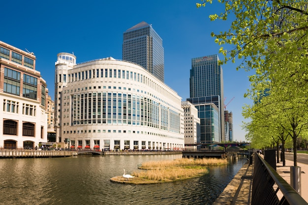 Canary wharf is a major business district located in borough of tower hamlets. it contains many of uk tallest skyscrapers