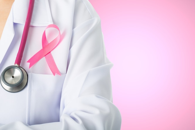 Cancer awareness medical stick ribbon for healthcare with stethoscope