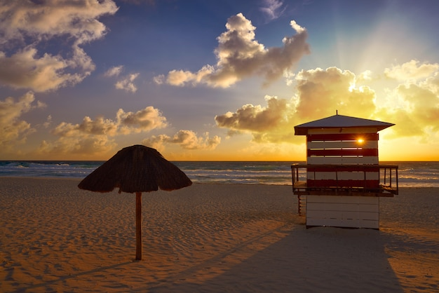 Cancun sunrise at delfines beach mexico
