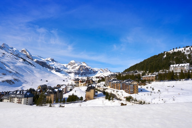 Candanchu skyline in huesca on pyrenees spain