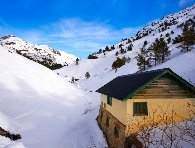 Candanchu snow in huesca on pyrenees spain
