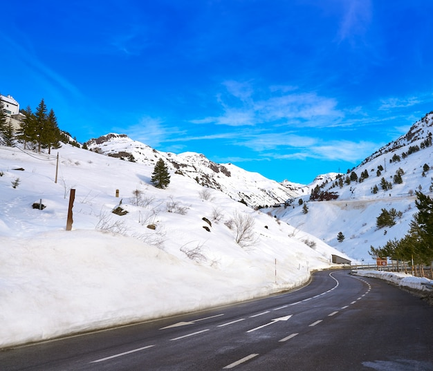 Candanchu snow road in huesca on pyrenees