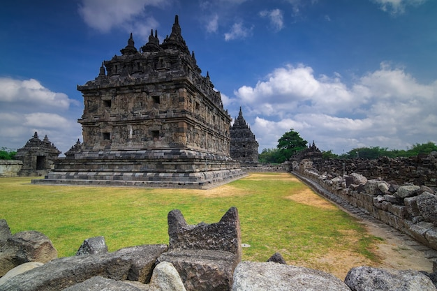 Candi plaosan with dramatic sky in the afternoon. the plaosan complex is famous temple one of the buddhist temples located in bugisan village, prambanan district, klaten, central java - indonesia.