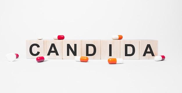 칸디다 나무 큐브의 단어, 큐브는 반사 흰색 표면에 서 있습니다.