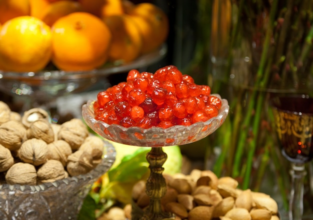 Candied cherries in glass bowl