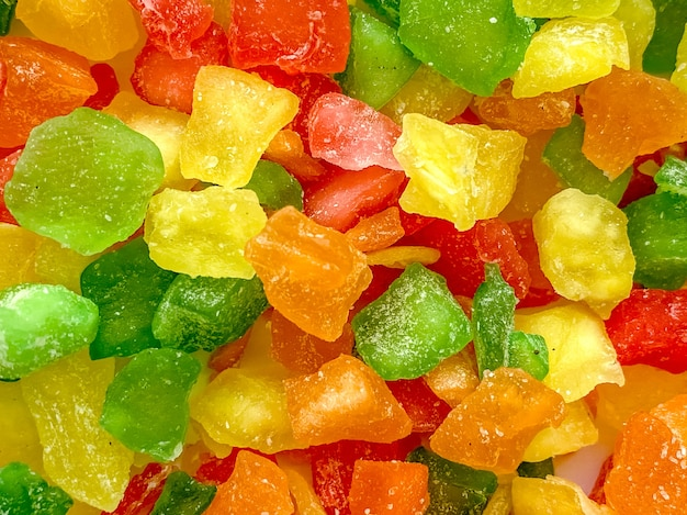 Candied fruit close-up. dessert filling, food photography.
