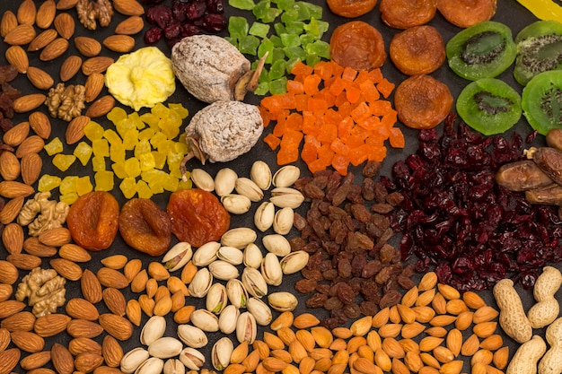 Candied fruit, dry fruit  nut vegan snack,  natural source of energy. healthy diet vegetarian food.