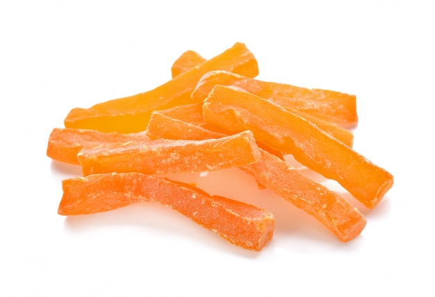 Candied fruits, dried melon isolated on white