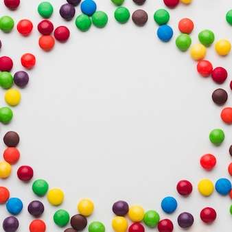 Candies circle frame with copy space