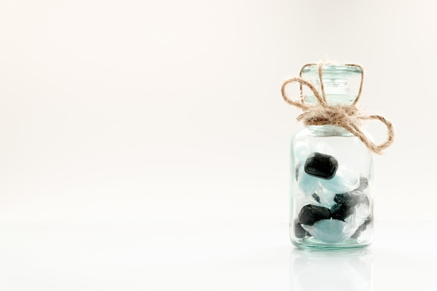 Candies closed in jar and tied with rope, diabetes concept, copy space