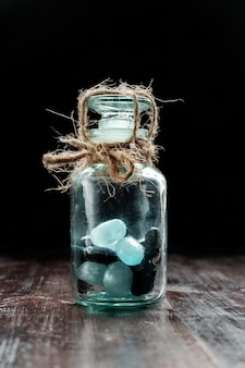 Candies closed in jar and tied with rope, diabetes concept