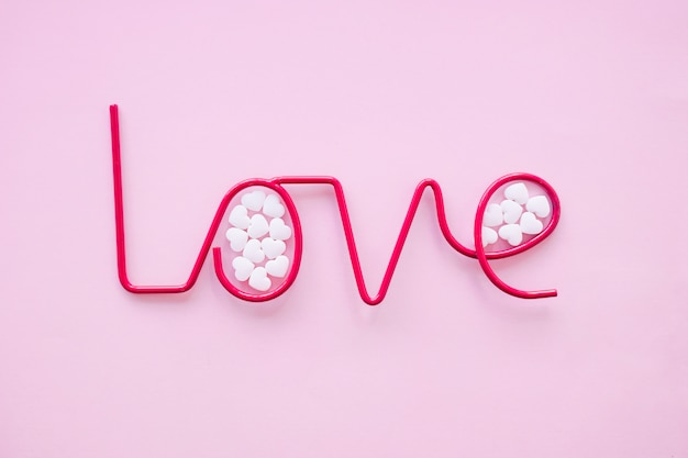 Candies inside love writing
