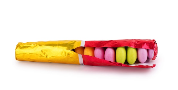 Candies isolated on white clos-eup background