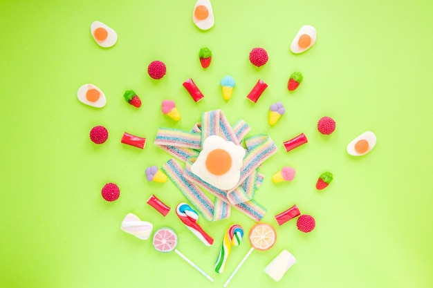 Candies scattered on table