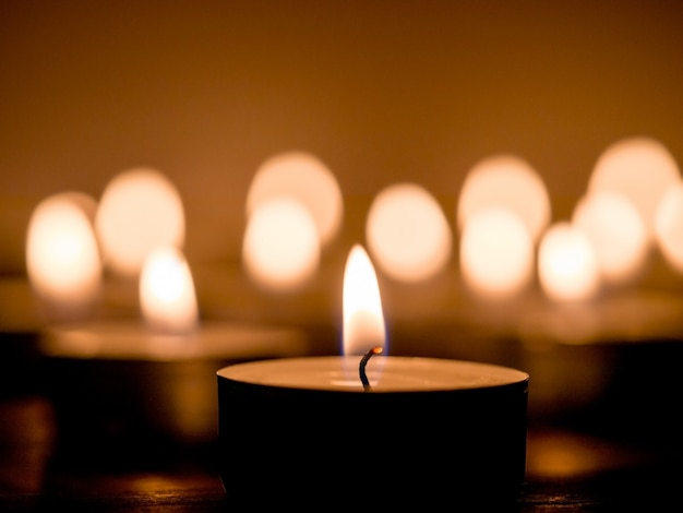 Candle light on dark background