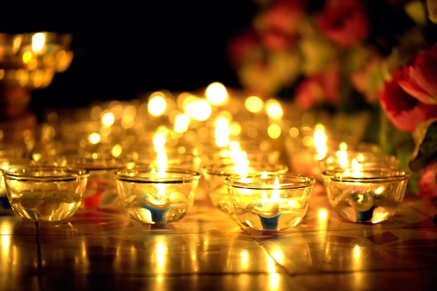 Candle lit thai culture in asalha puja day, magha puja day, visakha puja day