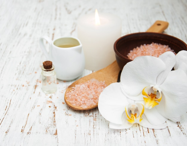 Candle, orchids and sea salt